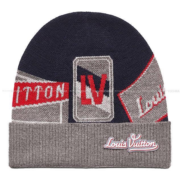 """ルイ・ヴィトン ニット帽 """"ボネ・トラベルスタンプス"""" ルージュXネイビーXグレー M70728 新品"""