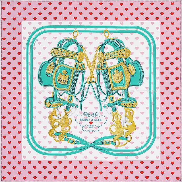 """HERMES エルメス カレ45 ガヴロッシュ スカーフ """"ブリッド ドゥ ガラ ラヴ"""" ハート柄 ローズビュヴァール 新品"""
