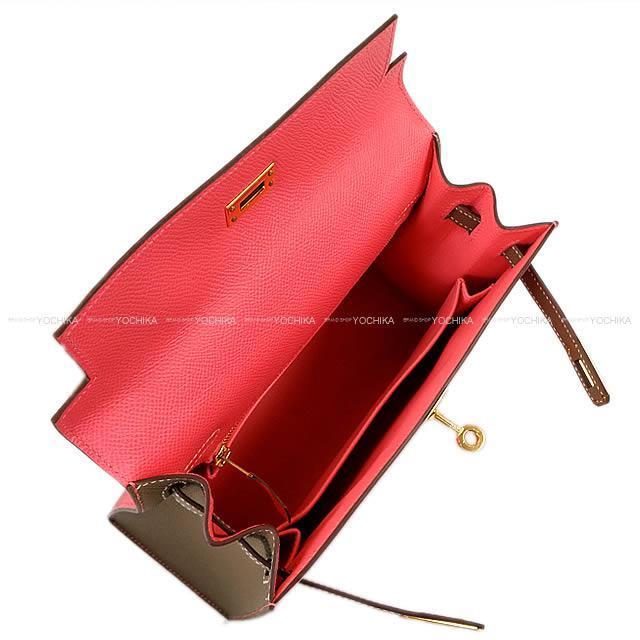 HERMES エルメス ハンドバッグ ケリー25 外縫い スペシャルオーダー ローズアザレXエトープ エプソン 展示新品
