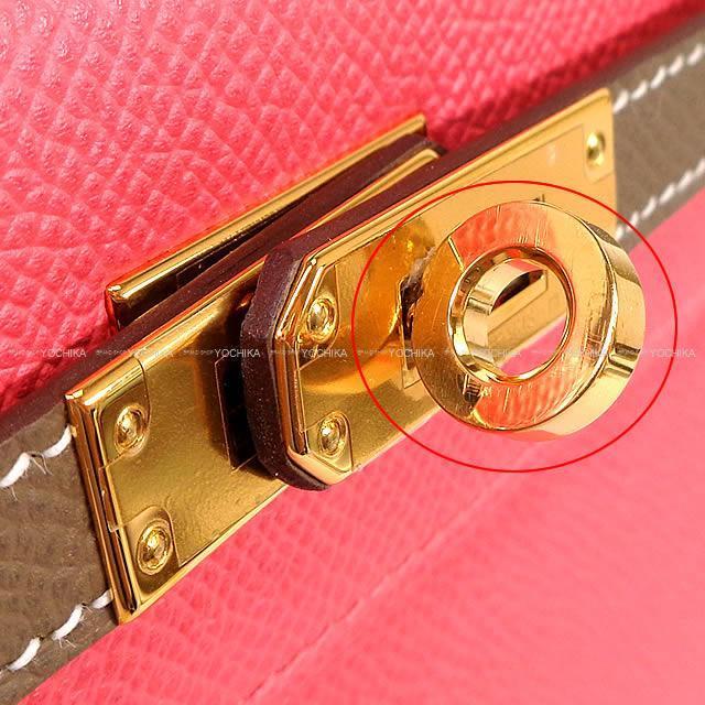 HERMES エルメス ハンドバッグ ケリー25 外縫い スペシャルオーダー ローズアザレXエトープ エプソン ゴールド金具 展示新品