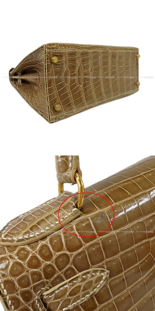 HERMES エルメス ハンドバッグ ケリー28 外縫い フィセル クロコダイル ポロサス ゴールド金具 SAランク【中古】