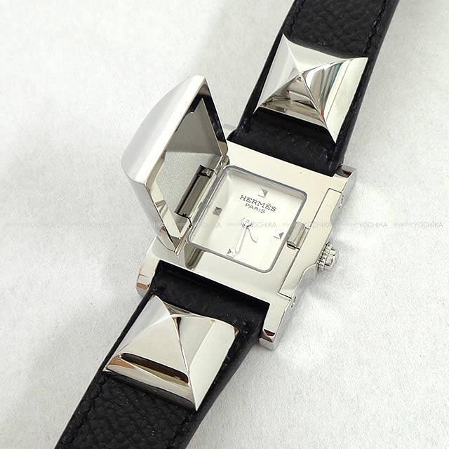 """HERMES エルメス 腕時計 """"メドール"""" ME3.210 黒(ブラック) エプソン シルバー金具 新品未使用"""