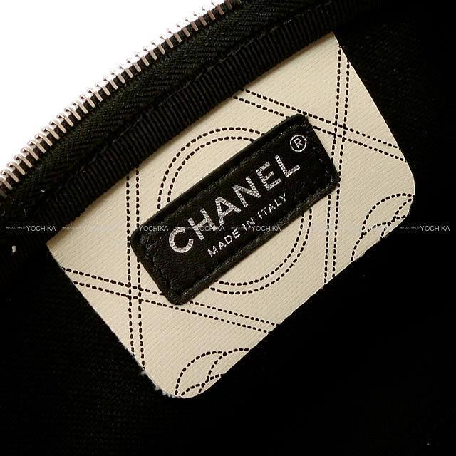 CHANEL シャネル カメリア&ココマーク ロゴ ボーリング チェーンバッグ 黒Xベージュ