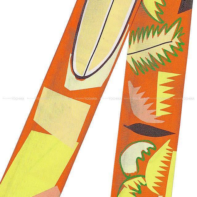 """2018春夏 HERMES エルメス ツイリー スカーフ """"Sea Surf and Fun"""" ヴェールXオレンジXジョーヌ"""
