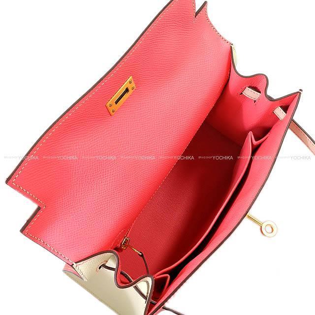 HERMES エルメス ハンドバッグ ケリー25 外縫い スペシャルオーダー ローズアザレXクレ エプソン マットゴールド金具 新品