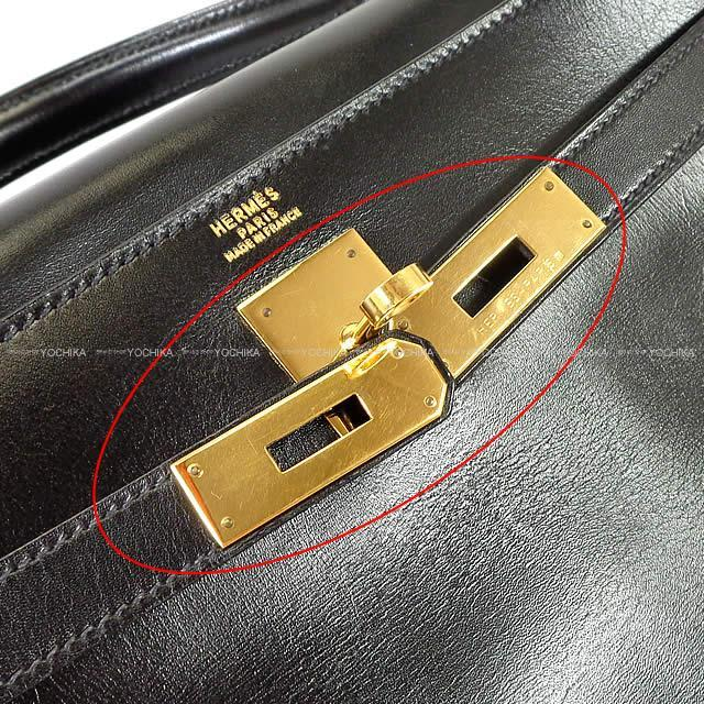 HERMES エルメス ケリー32 内縫い 黒(ブラック) ボックスカーフ ゴールド金具 SAランク【中古】