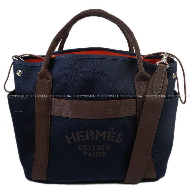"""HERMES エルメス 2way ショルダーバッグ """"サックドパンサ―ジュ グルーム"""" ブルーネイビーXフーオレンジ 新品"""