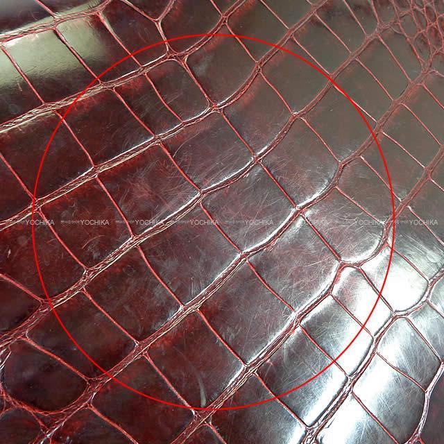 HERMES エルメス ハンドバッグ ケリー32 外縫い ボルドー クロコダイル アリゲ―ター ゴールド金具 Aランク【中古】