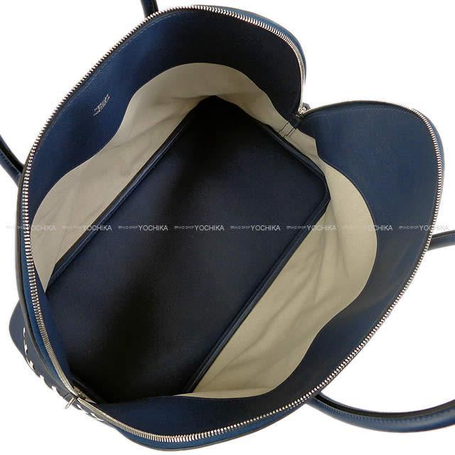 HERMES エルメス ハンドバッグ ボリード 1923 ベースボール 45 ボリード45 ブルーマルテ×白(ホワイト)