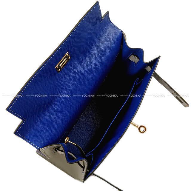 HERMES エルメス ハンドバッグ ケリー25 外縫い スペシャルオーダー ブルーエレクトリックXグリムエット エプソン