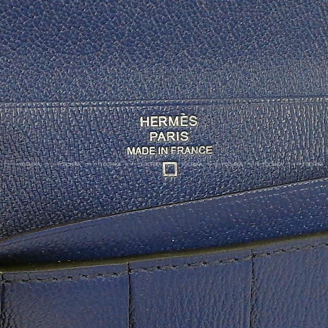 HERMES エルメス 財布 ベアンスフレ ヴェルソ ブルーマリン クロコダイル アリゲーターマット シルバー金具 新品