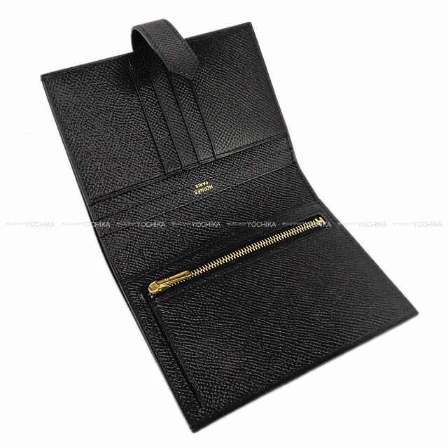 HERMES エルメス 財布 ベアン コンパクト 黒(ブラック) エプソン ローズゴールド金具 新品