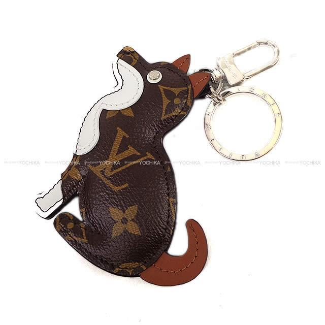 """LOUIS VUITTON  柴犬 バッグチャーム """"ポルトクレ アニマル ドッグ"""" ブラウンX白  MP1995 新品"""