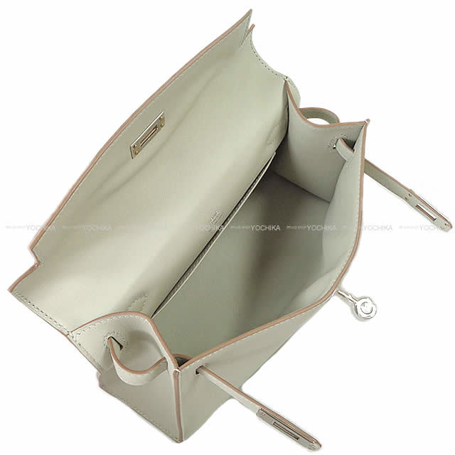 HERMES エルメス ハンドバッグ ポシェットケリー グリスパール(パールグレー) スイフト シルバー金具 新品