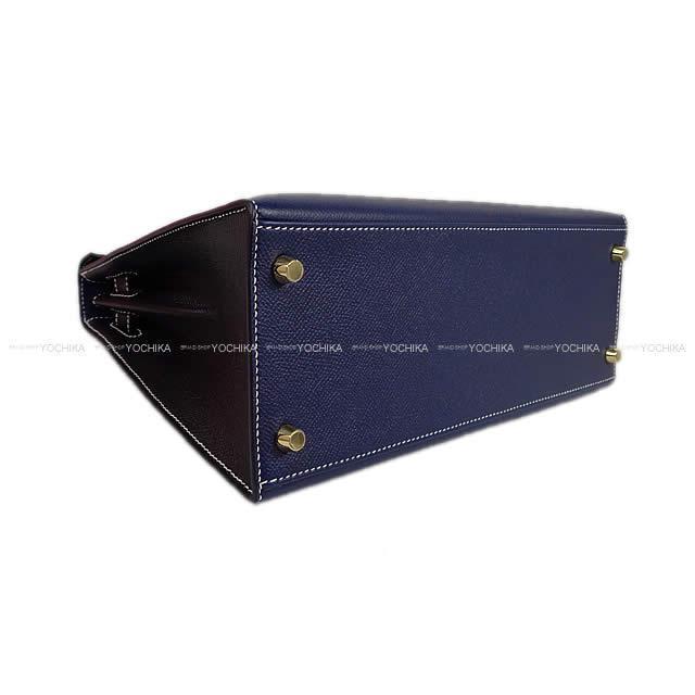 HERMES エルメス ハンドバッグ ケリー28 外縫い スペシャルオーダー ブルーサフィール/黒 エプソン 新品