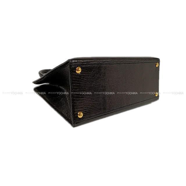 HERMES エルメス ハンドバッグ ダルヴィ PM 黒(ブラック) リザード ゴールド金具 SAランク【中古】