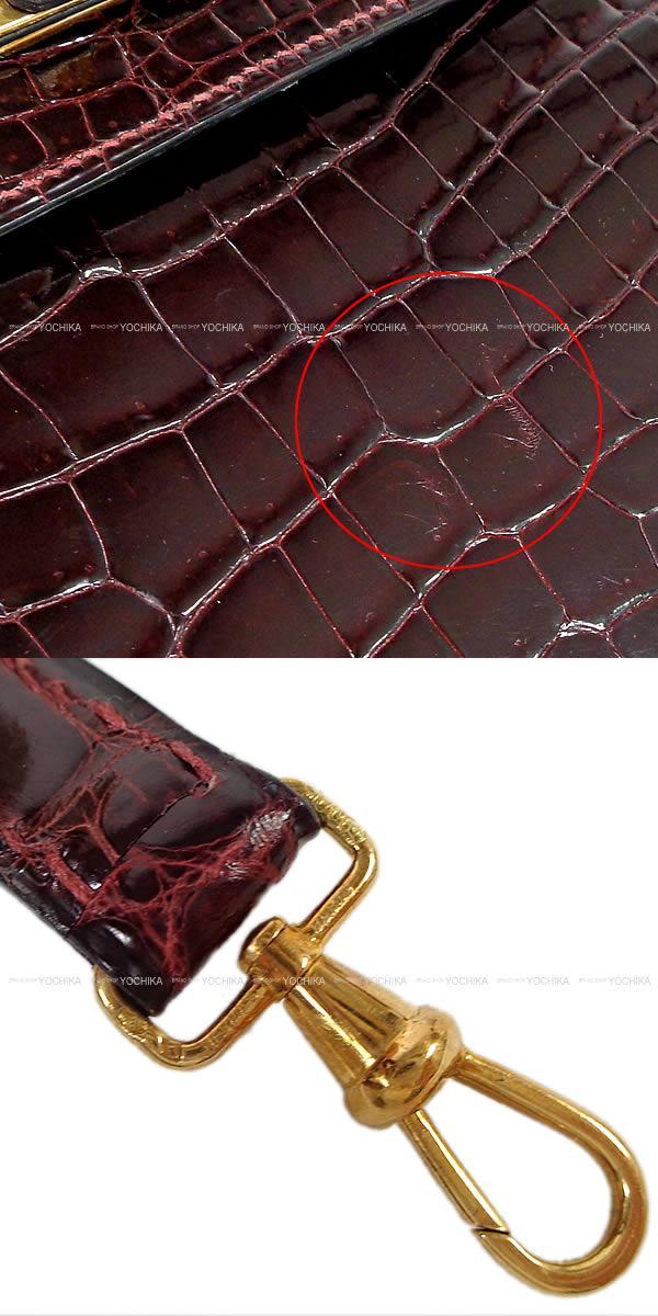 HERMES エルメス ハンドバッグ ケリー28 外縫い オレンジ クロコ アリゲ―ター SAランク【中古】