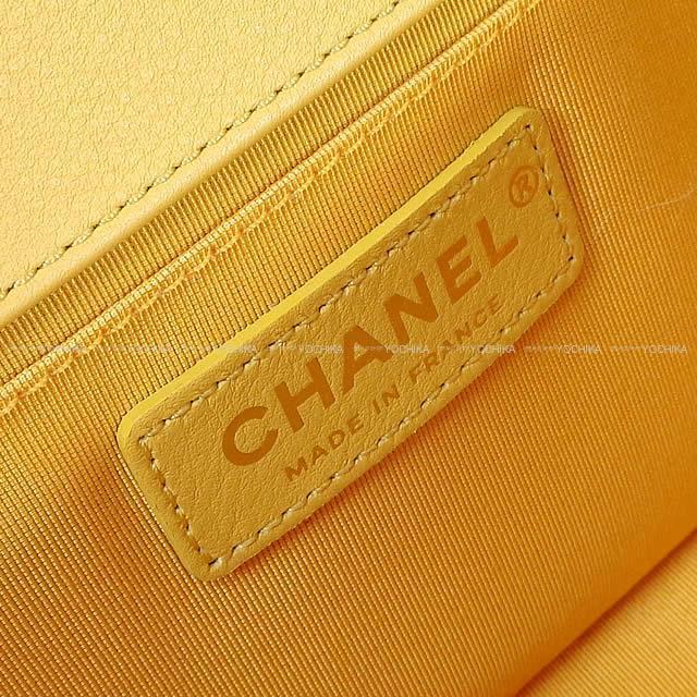 CHANEL シャネル ボーイシャネル マトラッセ チェーン ショルダーバッグ イエロー(黄) ラムスキン A67086