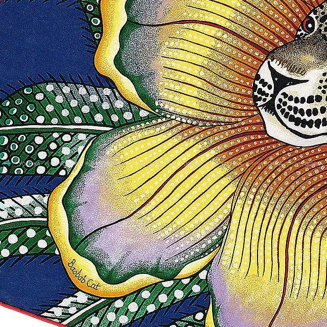 """HERMES エルメス カレ45 スカーフ """"バオバブ・キャット"""" マリンXヴェールXミール シルク100% 新品"""