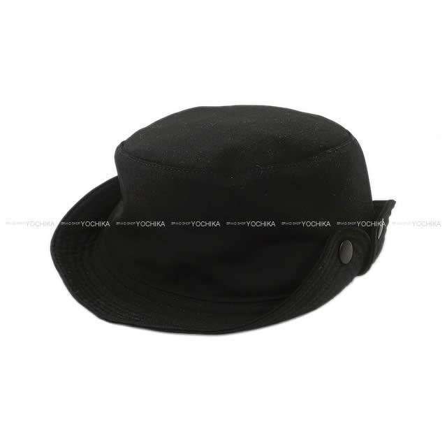 HERMES エルメス サファリハット 帽子 セリエボタン付き #60 黒 ポリエステル 新品同様