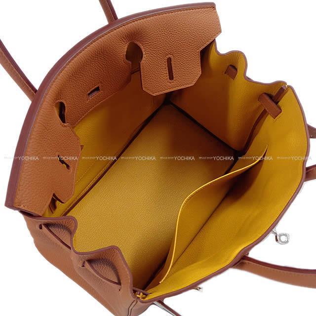 HERMES エルメス ハンドバッグ バーキン30 オフィサー ゴールド/ジョーヌアンブル トゴ/スイフト シルバー金具 新品