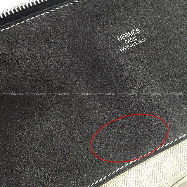 HERMES エルメス ボリードリラックス45 黒(ブラック) ヴォー・シッキム シルバー金具 新品同様【中古】