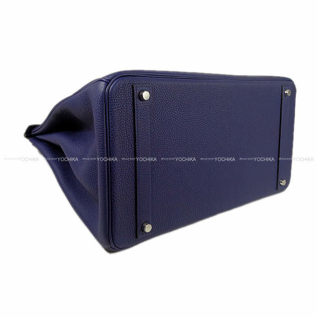 HERMES エルメス ハンドバッグ バーキン40 ブルーインク トゴ シルバー金具 新品