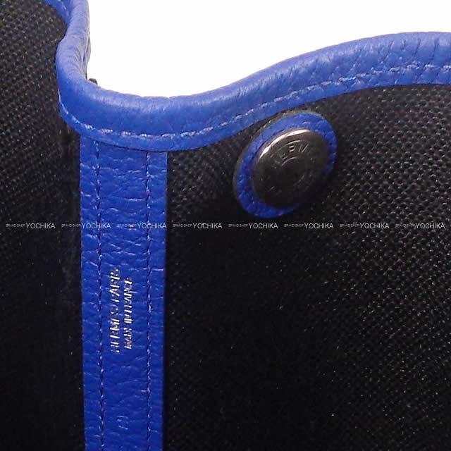 HERMES エルメス ハンドバッグ ガーデンパーティ 30 TPM 黒(ブラック)Xブルーエレクトリック