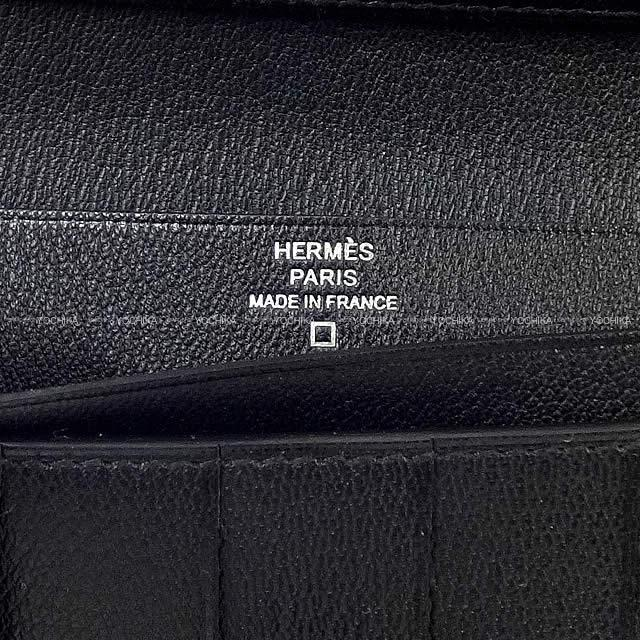 HERMES エルメス 財布 ベアンスフレ 黒(ブラック) クロコダイル アリゲーター シルバー金具 新品
