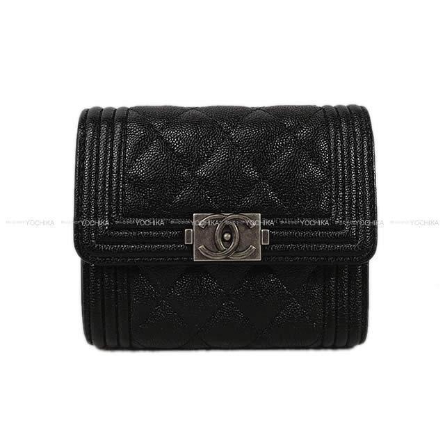 CHANEL シャネル ボーイシャネル コンパクト 三つ折り 財布 黒(ブラック) ゴートスキン