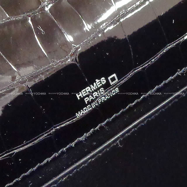 HERMES エルメス ハンドバッグ ポシェットケリー 黒(ブラック) クロコダイル アリゲーター シルバー金具 新品