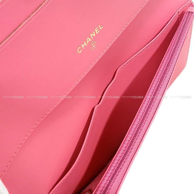 CHANEL シャネル マトラッセ ストラップ付 二つ折 財布 クラッチ ウォレット バッグ ピンク
