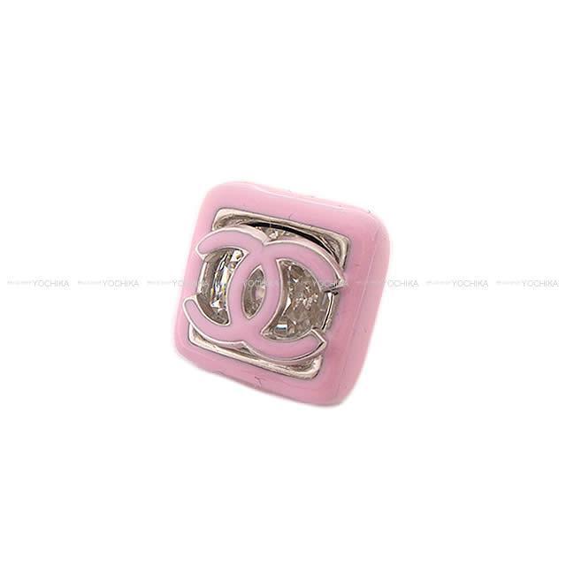 シャネル スクエア フレーム ココマーク ビッグ ラインストーン ピアス ピンク AB0433 新品