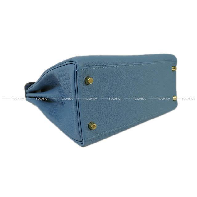 2018年 春夏 HERMES エルメス ハンドバッグ ケリー28 内縫い ブルーアズール トゴ ゴールド金具 新品