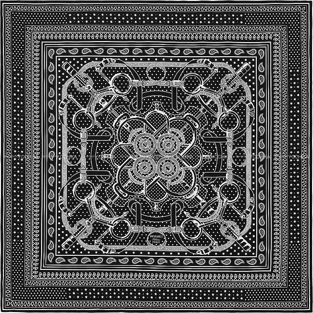 """HERMES エルメス ショール カレ140 """"エプロンドール・バンダナ"""" 黒(ブラック)X白(ホワイト)"""
