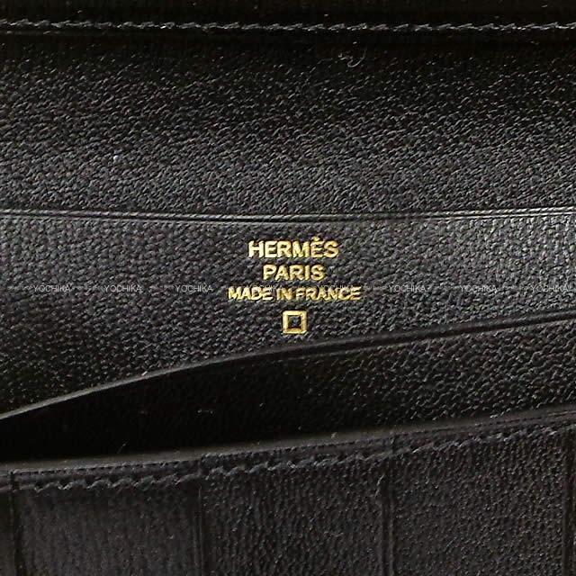 HERMES エルメス 財布 ベアンスフレ 黒(ブラック) クロコダイル アリゲーター ローズゴールド金具 新品