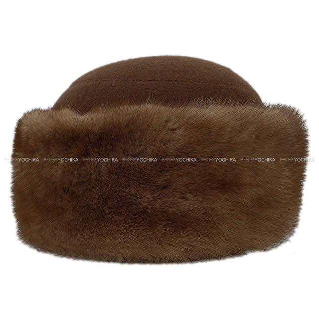 HERMES エルメス ロシアン帽 帽子 ファーハット #58 マロン カシミア/ミンク 新品未使用