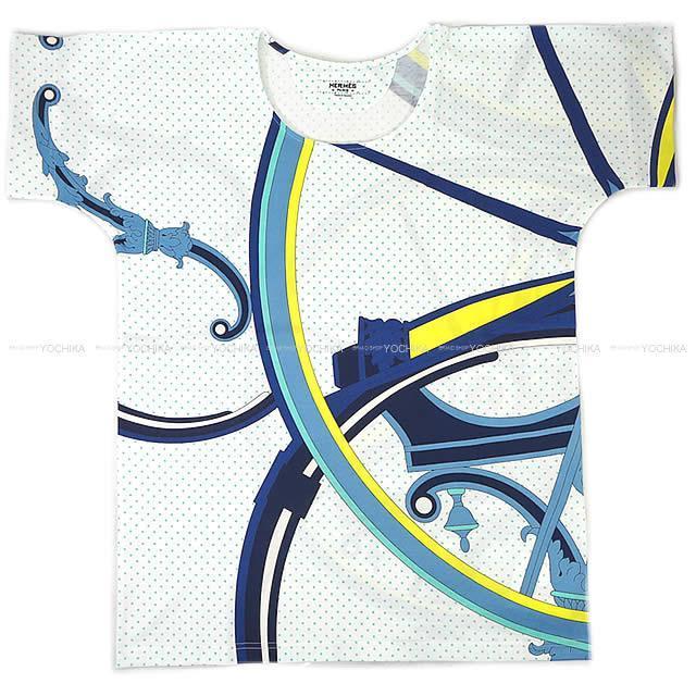 HERMES エルメス レディース プリント Tシャツ ''Washington's carriage'' #36 ブルー 新品