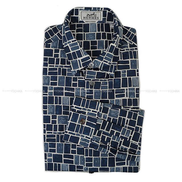 HERMES エルメス メンズ セリエボタン 長袖 シャツ '' IMPRIMEE MOSAIQUE H '' #39 新品