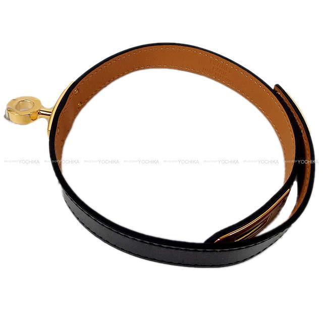HERMES エルメス バングル ケリー・ドゥ ブレスレット 黒 エプソン ローズゴールド金具 #S 新品