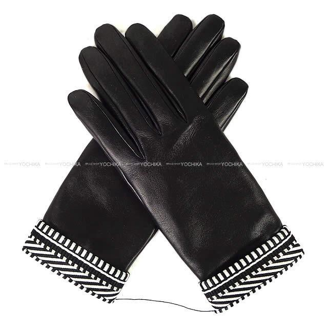 "HERMES エルメス メンズ 手袋 グローブ ""CLOUS DE SELLE"" #8.5 黒 (ブラック)"