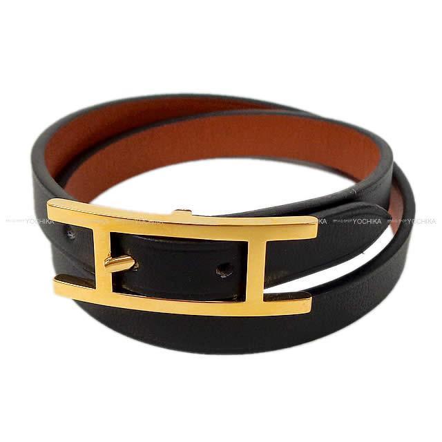 HERMES エルメス バングル ケリー ドゥ ブレスレット 黒 ボックスカーフ ゴールド金具 #XS 新品