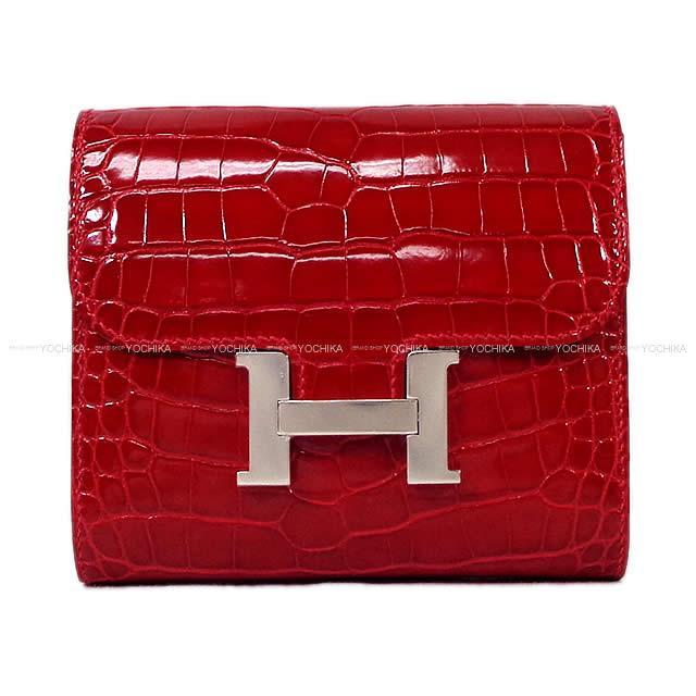 HERMES エルメス 財布 コンスタンス コンパクト ルージュアッシュ ボックスカーフ シルバー金具 新品未使用