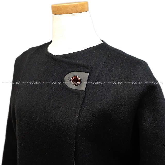 HERMES エルメス レディース  羽つき ロングコート ダブルフェイス 黒 #36 カシミア100% 新品