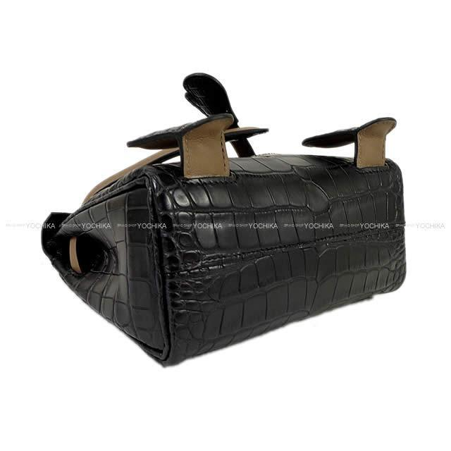 HERMES エルメス ケリードール 16 スペシャルオーダー 黒/エトープ クロコダイルアリゲーターマット ゴールド金具 新品