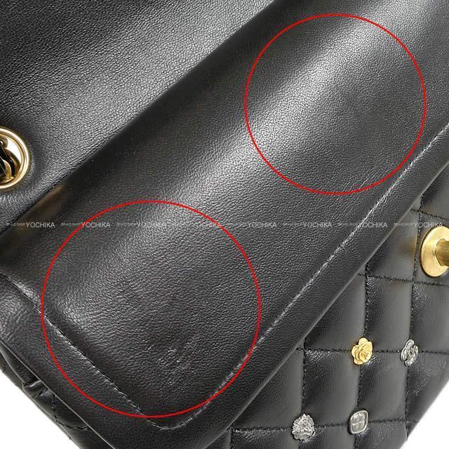 シャネル カメリア クローバー チャーム Wフラップ マトラッセ25 ショルダーバッグ 黒 ラム A01112 新品未使用