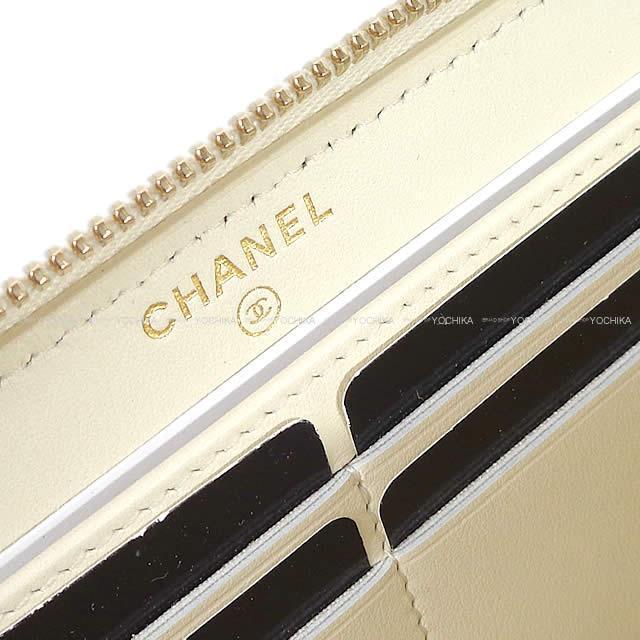 CHANEL シャネル ドーヴィル ラウンド 長財布 アイボリー キャンバス ゴールド金具 A81977 新品