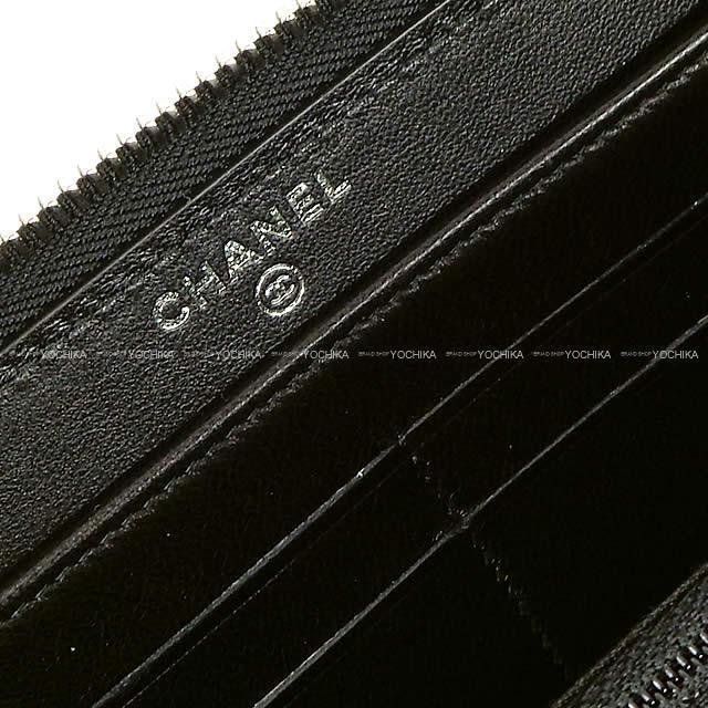 CHANEL シャネル ダイヤモンドステッチ ココマーク ラウンドファスナー 長財布 黒(ブラック) ラムスキン シルバー金具 A80695