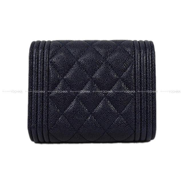 CHANEL シャネル ボーイシャネル 三つ折 コンパクト財布 黒(ブラック) グレインドカーフ