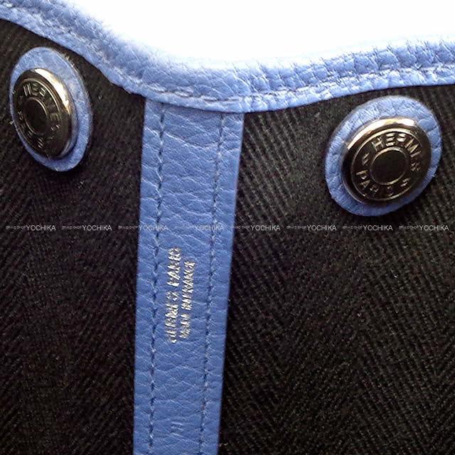 HERMES エルメス ハンドバッグ ガーデンパーティ 30 TPM ブルーブライトンX黒(ブラック)